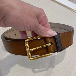 New Burberry Men's Textured Leather Brown Belt